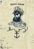 Vintage námořní znak lebka