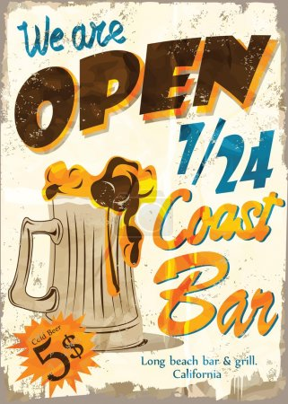 Illustration for Vintage Free Beer Tomorrow Metal Sign - Vector EPS10. Grunge effects can be easily removed. - Royalty Free Image