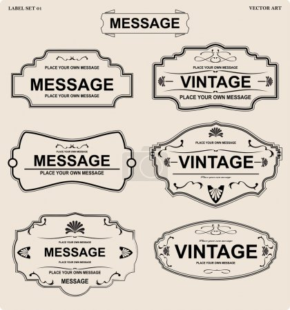 Illustration for Vector label set,vintage vector tee print - Royalty Free Image