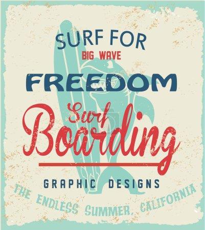 vector surf and shark mascot print