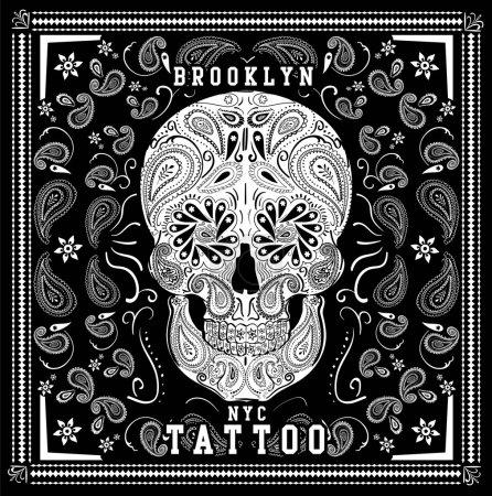 Skull paisley bandana illustration