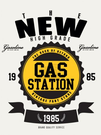 Illustration for Motor gasoline typography, t-shirt graphics, vectors - Royalty Free Image