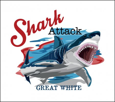 Illustration for Toothy great white shark.vector cartoon shark sketch - Royalty Free Image