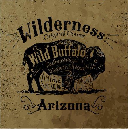 Illustration pour Vintage western label design avec effet de fond grunge - image libre de droit