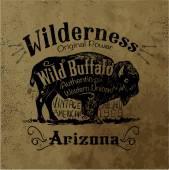 Vintage western label design with background grunge effect