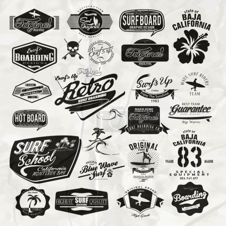 vector surf label and print set