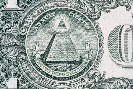 Photo pour L'œil qui voit tout. Signe maçonnique. Le symbole Mason. 1 dollar. . - image libre de droit
