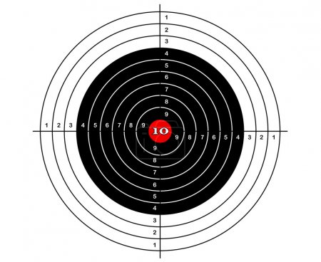 shooting mark in black, white and red colors