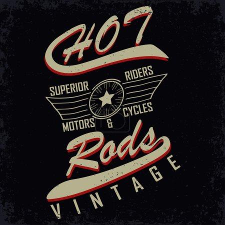 Illustration for Grunge Motorcycle vintage graphics, Hot rods typography print, Biker T-shirt stamp, teeshirt graphic, vintage Motorcycle Emblem, vector - Royalty Free Image