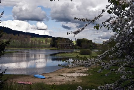 Lipno water reservoir with blossom, sandy beach and nice sky