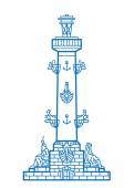 Saint-Petersburg Rostral column vector line art illustration