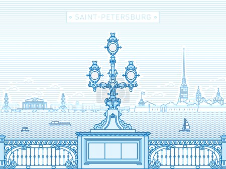 Saint-Petersburg Troitsky bridge panorama line art illustration