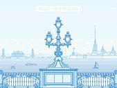 Saint-Petersburg Troitsky bridge panorama line art illustration