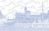 Petersburg line art vector illustration