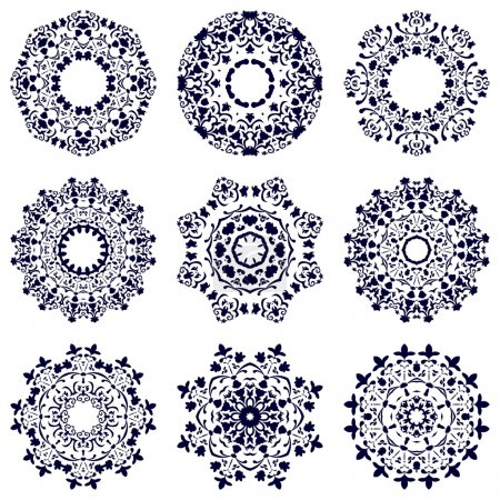 Set of nine circular patterns