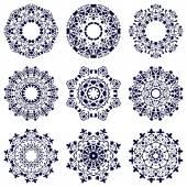 Set of nine circular patterns