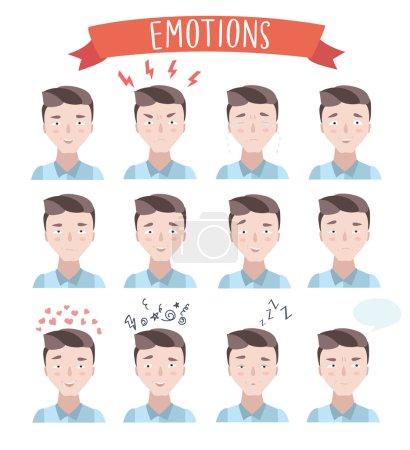Illustration for Vector set illustration of handsome man emotions portraits - Royalty Free Image