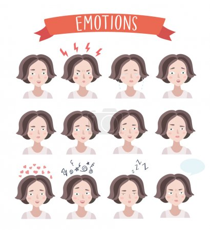 Illustration for Vector set illustration of cute woman emotions portraits - Royalty Free Image