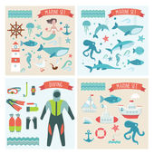 Viaggio marino, mare, crociera, immersioni elementi