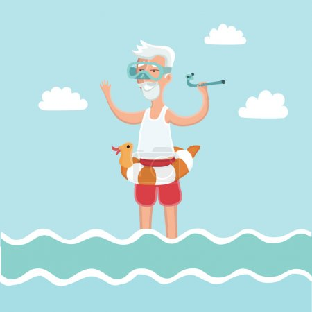 Old man standing in sea water with diving mask