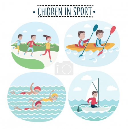 Illustration for Set of children playing sports, vector illustration - Royalty Free Image