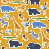 African animals seamless pattern vector illustration
