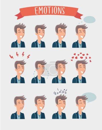 Illustration for Men emotions avatars set, vector illustration - Royalty Free Image