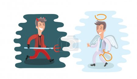Illustration for Funny cartoon angel and devil dressed in suits, vector illustration - Royalty Free Image