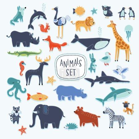 Photo pour Vecteur super ensemble d'illustration de dessins animés souriants animaux mignons - image libre de droit