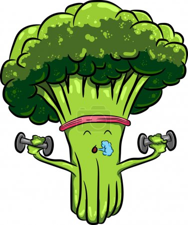 Organic farm cartoon broccoli vegetables with gree...