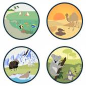 Habitats of the World vector set