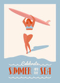Surfing summer poster with surf girl carrying the longboard on the beach Flat retro surf poster Summer inspiration poster with text quote