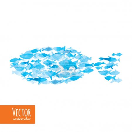 Vector watercolor fishes on light background.