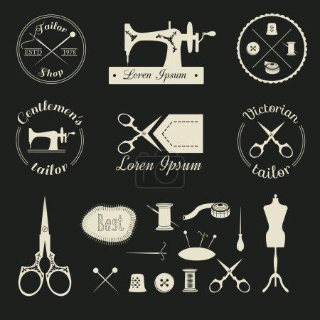 Set of vintage tailor logo.