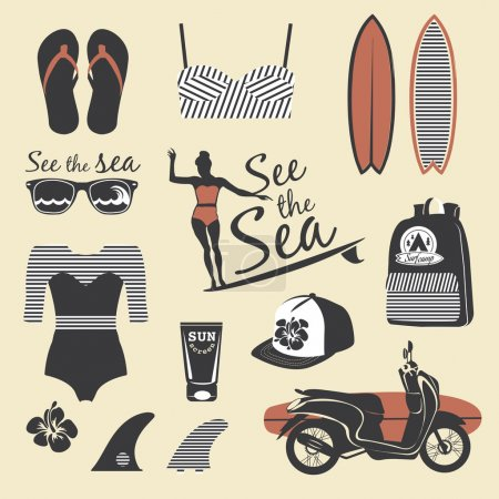 Beach style. Surfer girl retro vector set. Vintage surf elements