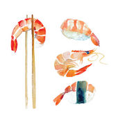 Watercolor shrimp sushi roll seafood set