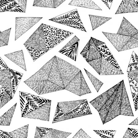 Hand drawn abstract geometrical floral pattern.
