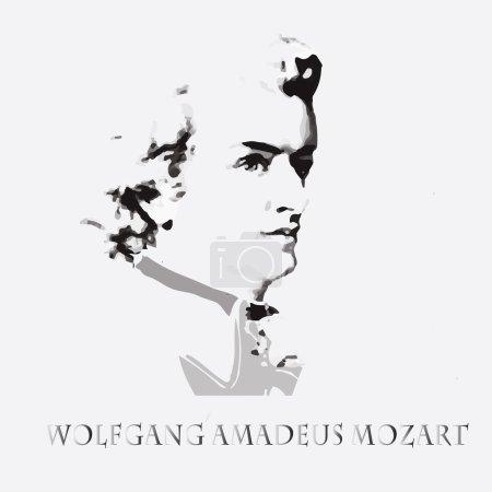 Illustration pour Portrait du compositeur et musicien Wolfgang Amadeus Mozart - image libre de droit
