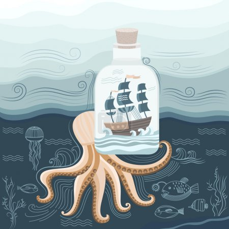 Illustration for Vector illustration of sea octopus. Ship in the sea. Bottle found in the sea. Illustration of underwater world. Vector background for banners, invitations, prints, cards, covers. Marine style. - Royalty Free Image