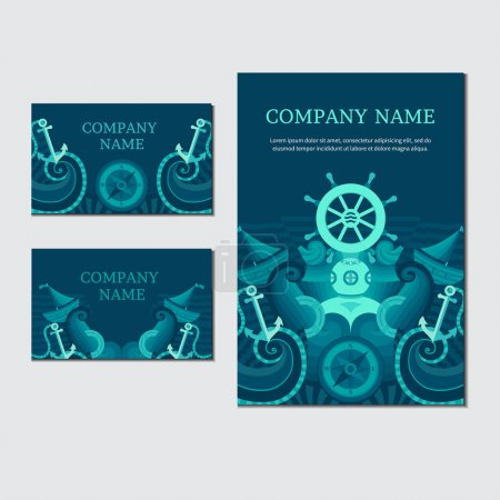 Illustration for Corporate identity in a nautical theme. Vector set of sea invitation cards. Collection of banners on the marine theme. Illustration on the marine theme - Royalty Free Image