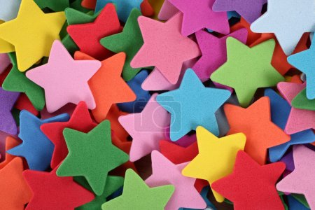 Photo for This is a pile of colorful decorative stars. - Royalty Free Image
