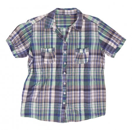 Woman's blue cotton plaid shirt with short sleeves