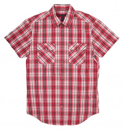 Man's red white cotton plaid shirt