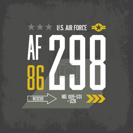 Modern american air force tee print vector design
