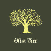 Beautiful magnificent olive tree isolated on green background  Premium quality logo concept vector illustration