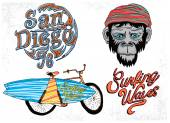 monkey with a surfboard icons