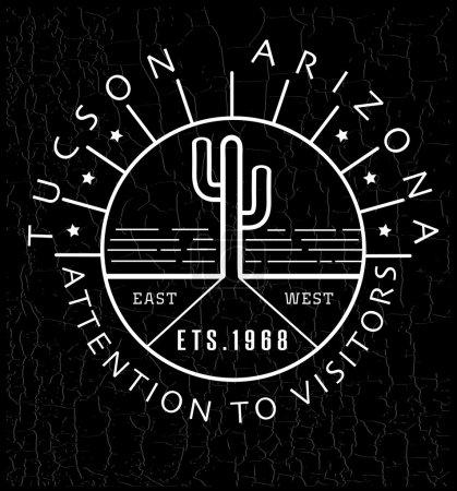 Illustration for Desert cactus in Arizona - vector illustration. Black and white - Royalty Free Image