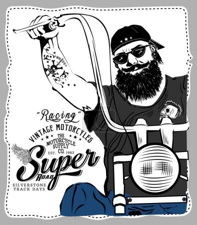 Man on vintage motorbike