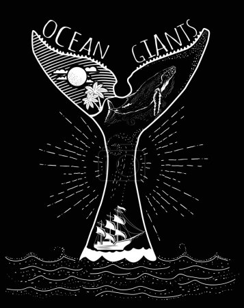 Illustration for Hand drawn vintage label with a ship, whale and lettering. vector illustration - Royalty Free Image