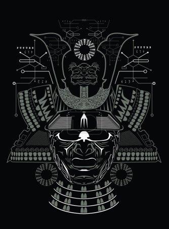 Illustration pour Masque samouraï illustration fond - image libre de droit